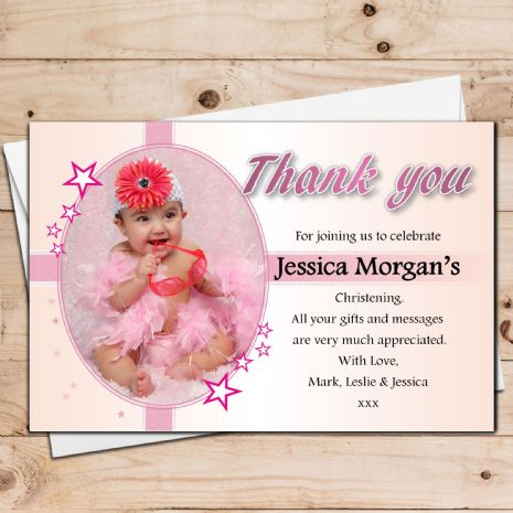 10 Personalised Girls Christening Baptism PHOTO Thank you Cards N30